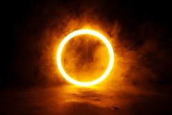 Sci Fi modern. Futuristic smoke. Neon color geometric circle on a dark background. Round mystical portal.