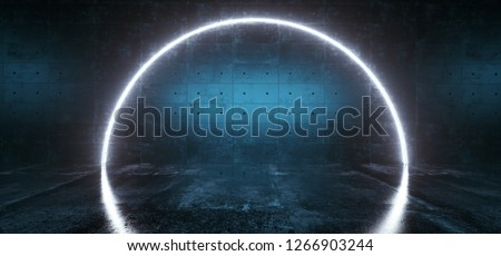 Sci Fi Modern Neon Glowing Blue Color Arc Shaped Light Futuristic Grunge Concrete Room With Reflection Empty Space For Text Dark Background Technology Club 3D Rendering Illustration