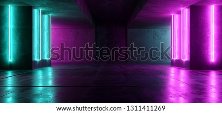 Sci Fi Neon Cyber Futuristic Modern Retro Alien Dance Club Glowing Purple Pink Blue Lights In Dark Empty Grunge Concrete Reflective Room Corridor Background 3D Rendering Illustration