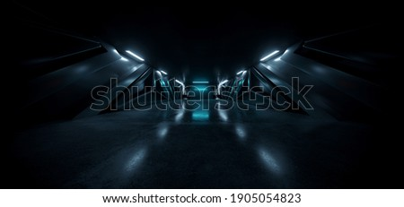 Sci Fi Neon Glowing Blue White Led Alien Spaceship Corridor Tunnel Underground Cement Concrete Metal Glossy Elements Realistic Cyber Background Showroom Parking Triangle Doors Hangar 3D Rendering