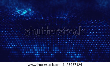 Sci fi neon glowing grid. Wavy blue structure from glow dots. glow particles on isolated black background. Wave texture. Can use as Web cover, banner, flyer.Top view