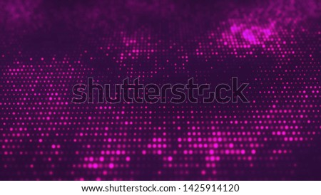 Sci fi neon glowing grid. Wavy purple structure from glow dots. glow violet particles on isolated black background. Wave texture. Can use as Web cover, banner, flyer.Top view