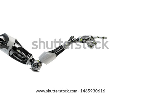 Sci-fi robotic arm pointing with index finger, 3d rendering