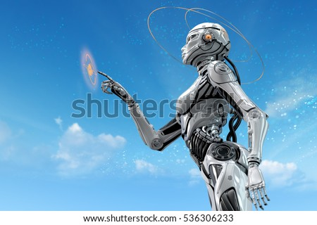 Stock Photo Sci-fi robotic girl. Gynoid working in futuristic environment. Female robot in virtual space