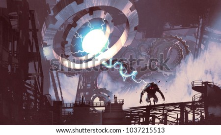sci-fi scene of the giant machine with blue light creating a monster in old factory, digital art style, illustration painting