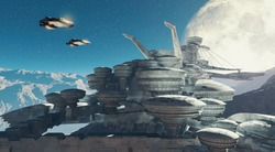 Sci fi scene of two planes flying above a futuristic city . Space station during the night on a planet . This is a 3d render illustration .