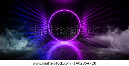 Sci Fi Smoke Futuristic Fog Steam Circle Shaped Rainbow Purple Pink Blue Glowing Neon Fluorescent Laser Ring Portal Gate Light In Dark Concrete Metal Corridor Tunnel 3D Rendering  Illustration