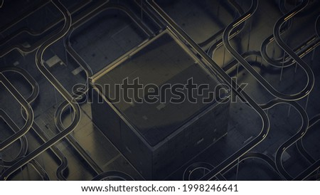 Sci-fi technical structure with network system. Abstract futuristic technology design. 3D rendering with DOF Stock photo ©