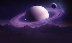Sci-fi wallpaper of Saturn planet and mountains in the Earth. Night landscape. Elements of this image furnished by NASA