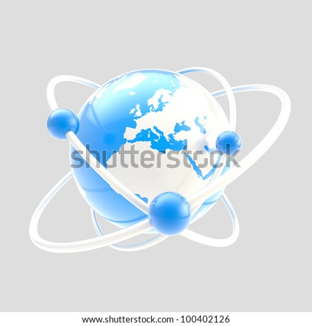 Science and atomic structure symbol as atom sign with earth globe as core isolated on grey