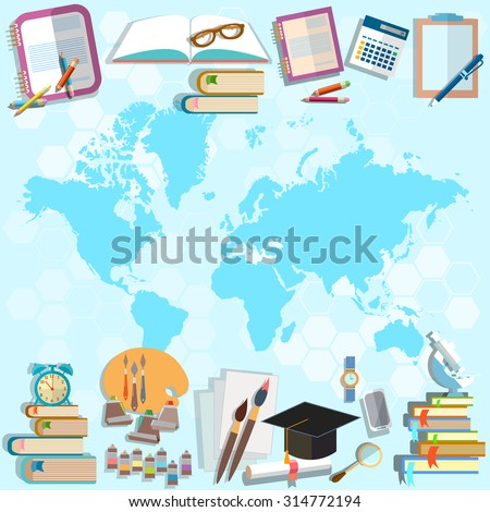 Science and education back to school world map online education student subjects university college math physics algebra, geometry