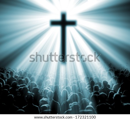Science and religion. Christian religion. Illustration with cross of christ and believers