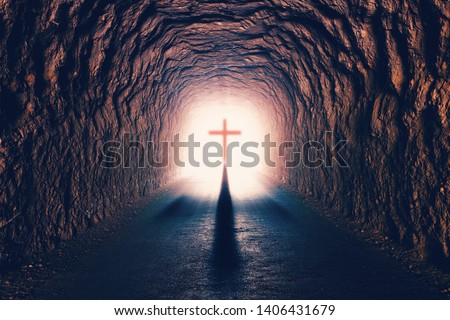 Science and religion. Christian religion. Illustration with cross of jesus christ and resurrection concept.Tunnel towards death #1406431679