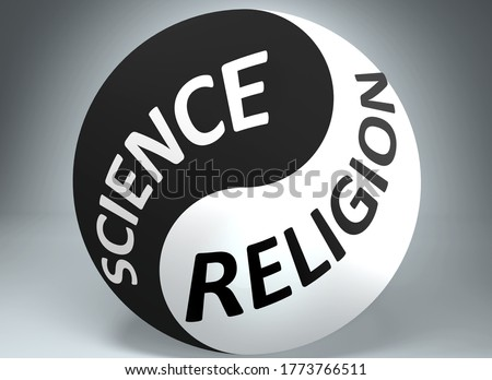 Science and religion in balance - pictured as words Science, religion and yin yang symbol, to show harmony between Science and religion, 3d illustration stock photo