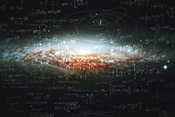 Science and research of the universe, spiral galaxy and physical formulas, concept of knowledge and education. Elements of this image furnished by NASA.