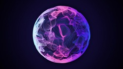 Science and technology abstract graphic background and texture, sphere planet circle, blue and pink tones, on dark backgroundю