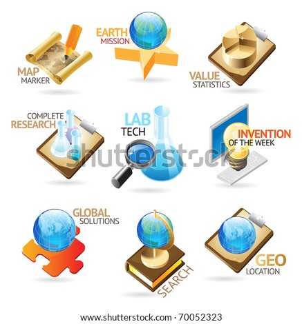 Science and technology icons. Heading concepts for document, article or website. Raster version. Vector version is also available. - stock photo