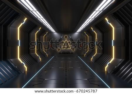 Science background fiction interior rendering sci-fi spaceship corridors Yellow light,3D rendering