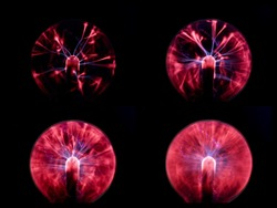 Science background: Multiple plasma globe lamps red and blue fire with black background collage ( 4 different shutter speeds).