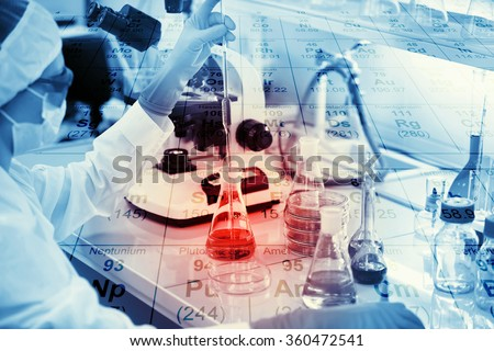 Science, chemistry, technology, biology and people concept - young female scientist mixing reagents from glass flasks and making test or research in clinical laboratory with chemical table background