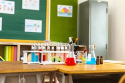 Science classroom and experimental equipment of elementary school.