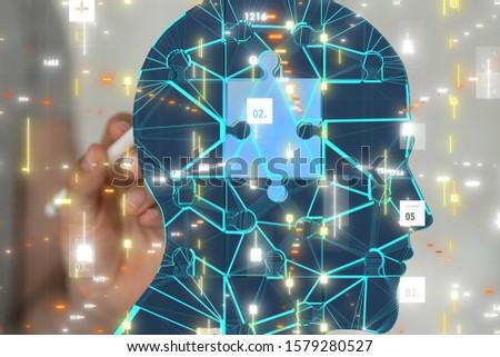 science consist head human digital technology concept