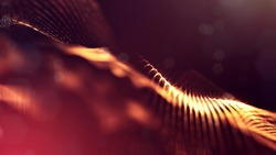 science fiction background of glowing particles with depth of field and bokeh. Particles form line and abstract surface grid. 3d rendering V36 red gold