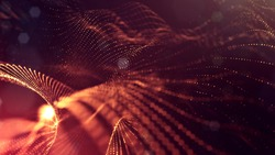 science fiction background of glowing particles with depth of field and bokeh. Particles form line and abstract vsurface grid. 3d rendering V65 red gold
