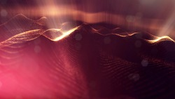 science fiction background of glowing particles with depth of field and bokeh. Particles form line and abstract surface grid. 3d rendering V77 red gold with light rays
