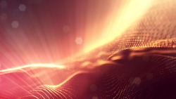 science fiction background of glowing particles with depth of field and bokeh. Particles form line and abstract surface grid. 3d rendering V1 red gold with light rays