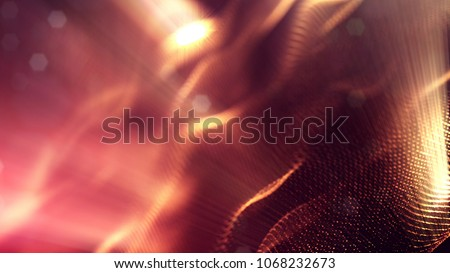 science fiction background of glowing particles with depth of field and bokeh. Particles form line and abstract surface grid. 3d rendering V84 red gold with light rays