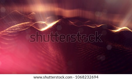 science fiction background of glowing particles with depth of field and bokeh. Particles form line and abstract surface grid. 3d rendering V77 red gold with light rays stock photo