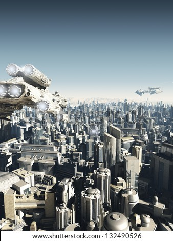 Science fiction city being attacked from above, 3d digitally rendered illustration