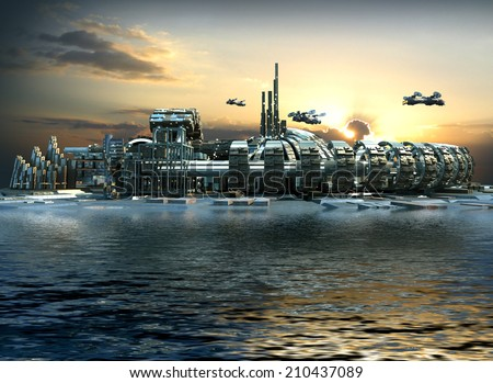 stock-photo-science-fiction-city-with-metallic-ring-structures-on-water-and-hoovering-aircrafts-in-sunset-for-210437089.jpg