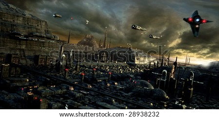 Science fiction city with spaceships (3D render) - stock photo