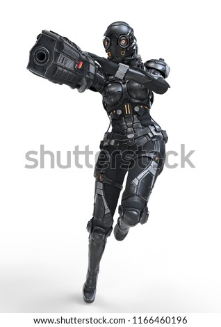 Science fiction cyborg female jumping and shooting with gun. Cyborg girl with big gun in one hand. Young Girl in a futuristic black armor suit with a helmet. Shooter. 3D rendering on white background.
