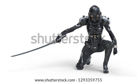 Science fiction cyborg female kneeling on one knee holding a katana in one hand. Sci-fi Cyborg samurai girl. Young Girl in a futuristic black armor suit with a helmet. 3D rendering on white background