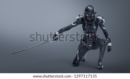 Science fiction cyborg female kneeling on one knee holding a katana in one hand. Sci-fi Cyborg samurai girl. Young Girl in a futuristic black armor suit with a helmet. 3D rendering on gray background.