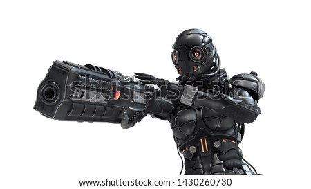 Science fiction cyborg female shooting with gun. Cyborg girl with big gun in one hand. Young Girl in a futuristic black armor suit with a helmet. Cyberpunk Shooter. 3D rendering on white background.