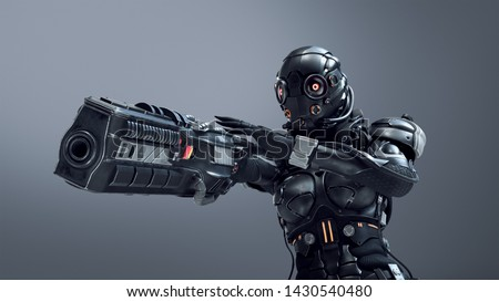 Science fiction cyborg female shooting with gun. Cyborg girl with big gun in one hand. Young Girl in a futuristic black armor suit with a helmet. Cyberpunk Shooter. 3D rendering on gray background.