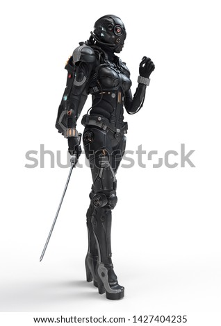 Science fiction cyborg female standing and holding futuristic japanese samurai sword in one hand. Sci-fi samurai girl in a futuristic black armor suit with a helmet. 3D rendering on white background.