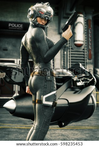 Stock Photo Science Fiction female police officer posing in front of her jet bike ,wearing helmet and uniform with police station in background. 3d rendering illustration