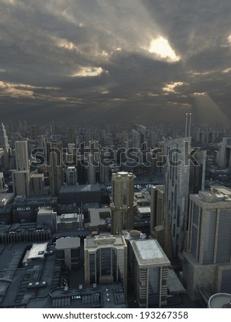Science fiction illustration of a future city with storm clouds passing overhead and rays of sunshine, 3d digitally rendered illustration #193267358