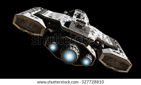 Science fiction illustration of a spaceship isolated on a black background with blue engine glow, back view, 3d digitally rendered illustration