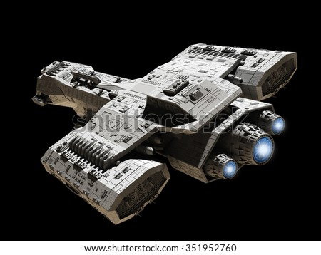 Science fiction illustration of a spaceship isolated on a black background with blue engine glow, top angled view, 3d digitally rendered illustration