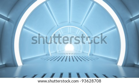 Science fiction interior rendering - sci-fi corridor