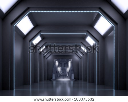 Science fiction interior scene - sci-fi dark corridor