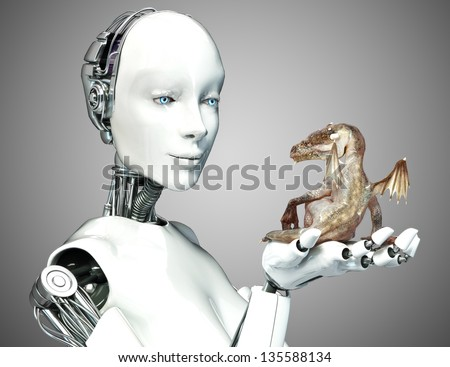 Stock Photo Science fiction meets Fantasy. Female android robot holding a baby dragon with a gradient background.