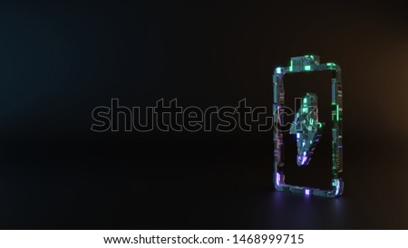 science fiction metal neon blue violet glowing vertical vertical symbol of charging empty battery with flash 3D rendering machinery with blurry reflection on floor