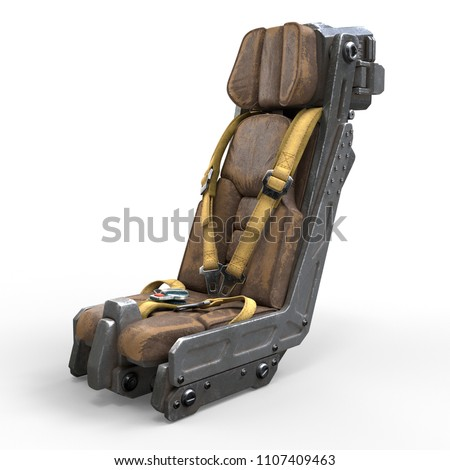 Science fiction pilot's seat. Spaceship cockpit seat. Old brown leather pilot seat with yellow safety belts. Sci-fi space fighter craft cockpit. Mech Pilot's seat. 3d rendering on a white background.